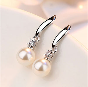 Elegant Fashion 925 Sterling Silver Drop Earrings Imitation Pearl Zircon Tassel CZ brincos Earrings For Women Jewelry Jewelrex