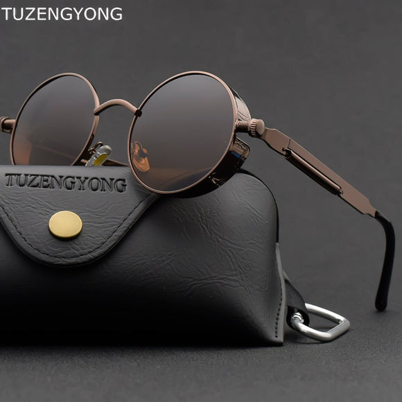 Classic Gothic Steampunk Sunglasses Polarized Men Women Brand Designer Vintage Round Metal Frame Sun Glasses High Quality UV400