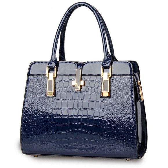 2018 Solid Color Elegant Alligator Patent Leather Women Handbag Big Women's Shoulder Bags Cross Lock Design Lady  PURSEX