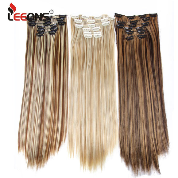 Leeons 16 colors 16 clips Long Straight Synthetic Hair Extensions Clips in High Temperature Fiber Black Brown Hairpiece HOUSEX