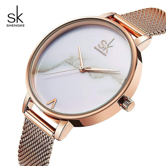 Shengke Creative Marble Dial Watches Women Luxury Stainless Steel Quartz Watch Reloj Mujer 2019 SK Women Wrist Watch #K0039