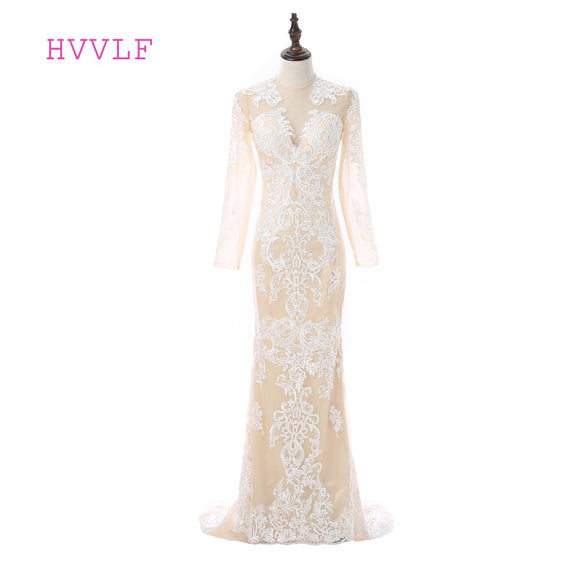 Champagne 2019 Formal Celebrity Dresses Mermaid Long Sleeves Lace See Through Long Evening Dresses Famous Red Carpet  WOMDRESS