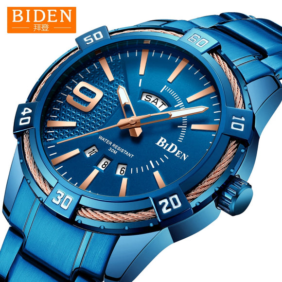 2019 Watch Men BIDEN Fashion Sport Quartz Mens Watches Top Brand Luxury Business Waterproof Digital Watch Male Relogio Masculino