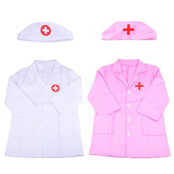 1 Set Children's Clothing Role Play Costume Doctor's Overall White Gown Nurse Uniform Educational Doctor  toyex For Kids Gift