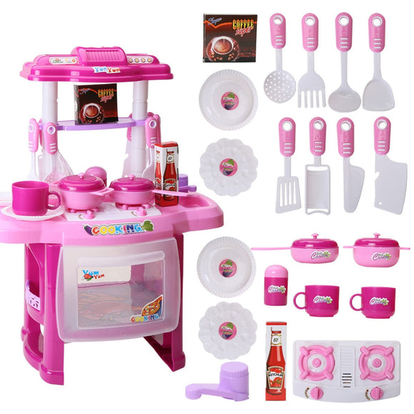 Baby Miniature Kitchen Plastic Pretend Play Food Children Toys With Music Light Kids Cooking Toy Set For Girls  toyex