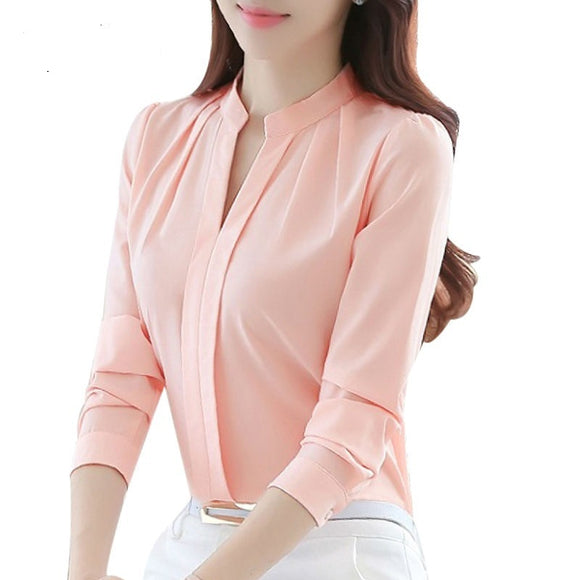 Women Casual Long Sleeved Chiffon Blouse Female Sexy V-neck Shirt Lady Office Slim Tops