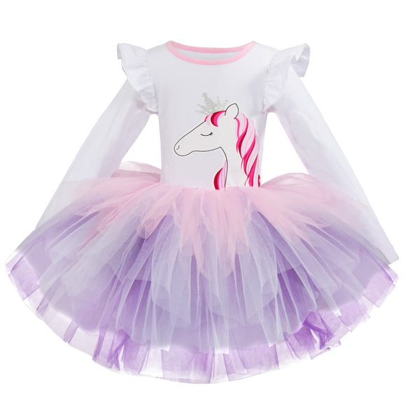 Children Dresses Kids Girl  Princess Costume Party Wear  Girls Dress 2-6Y Baby Girls Unicorn Print Casual Dresses