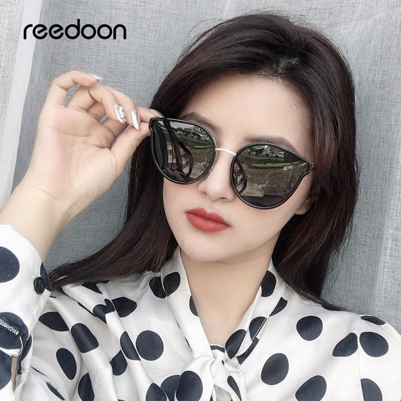 Reedoon Sunglasses Women Polarized Cat Eye Mirror Lens UV400 Metal Frame Female Fashion Brand Designer Vintage Beach Sun Glasses