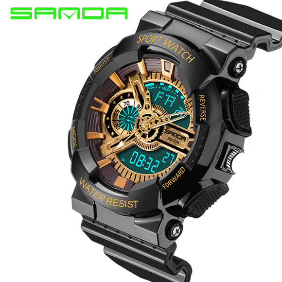 SANDA Fashion Digital Sport Watch Men Waterproof Outdoor Casual Clock LED Calendar Simple Running Wristwatch Relogio Masculino