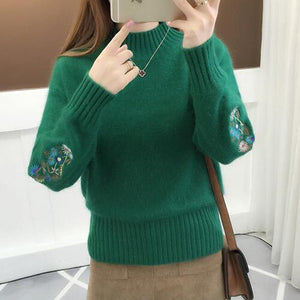 TIGENA 2019 Winter Thick Warm Beautiful Embroidery Turtleneck Sweater Women Long Sleeve Knit Pullover Sweater Female Pull  femix