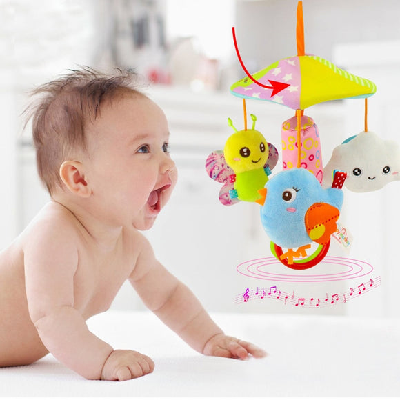 Baby Toddler Stroller Crib Pram Bed Rattle Hanging Toy  toyex  Cute Plush Animal Hand Bell Appease Rotating Wind Chime Gift