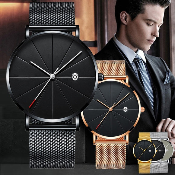 Sports Mens Watches Business Quartz WristWatch Stainless Steel Mesh Strap Ultra Thin Dial Date Clock Relogio Masculino