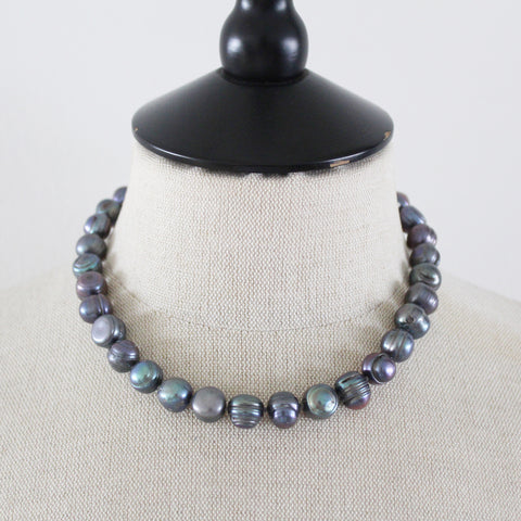 ALLEGRA necklace dark grey Pearl