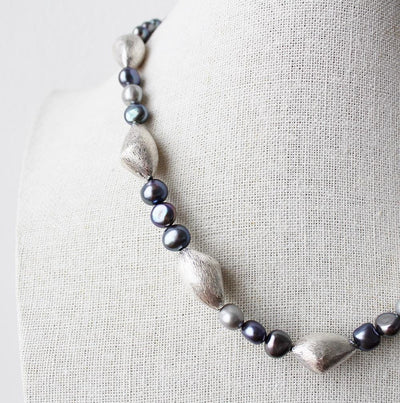 Dark grey pearl and sterling silver necklace