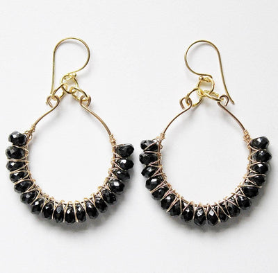 Handmade black spinel earrings