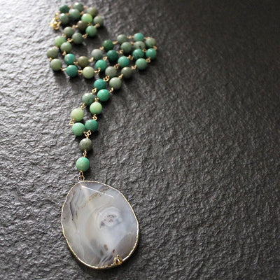 Handmade green agate necklace with pendant