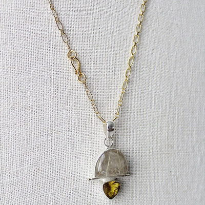 Quartz and citrine pendant