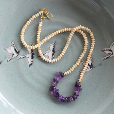 Mother of pearl and amethyst necklace