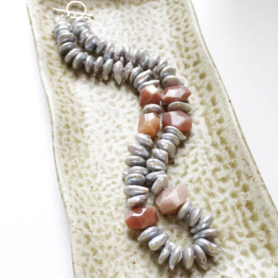 Grey pearl and peach moonstone necklace