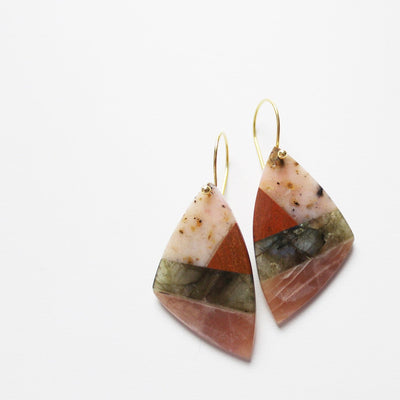 Pink semiprecious stone earrings