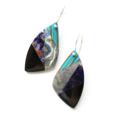 Blue and black semiprecious stone earrings