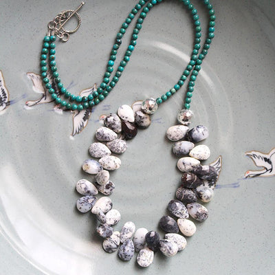 Dendritic agate and turquoise necklace