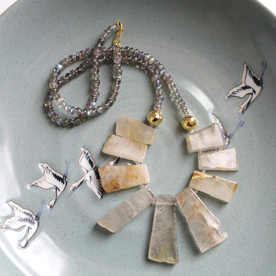 Rhutilated quartz necklace
