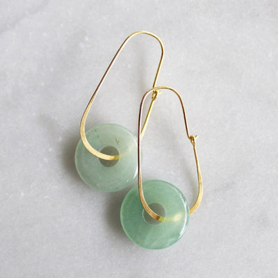 Green aventurine hoop earrings