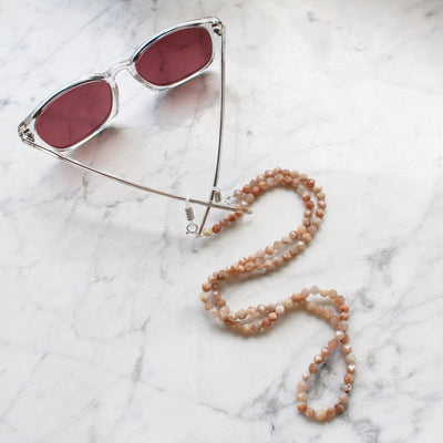 Peach moonstone sunglasses chain