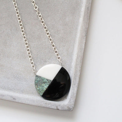Statement semiprecious stone pendant on chain