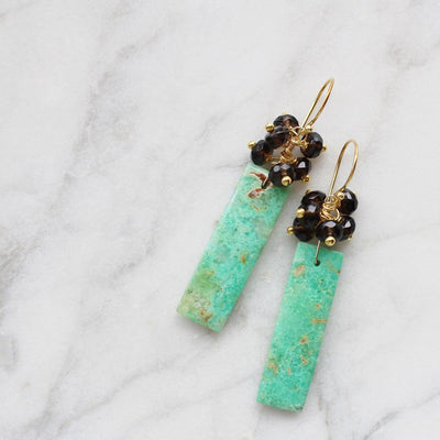 Green and brown semiprecious stone earrings