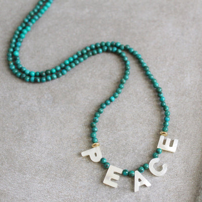 Peace word necklace