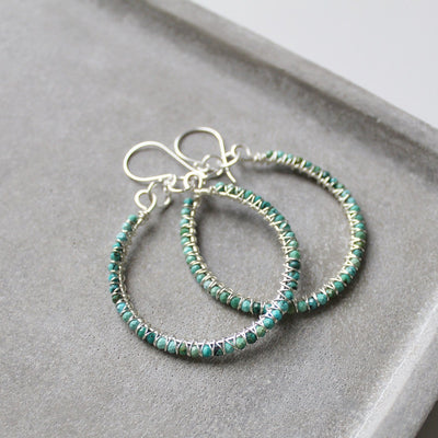 Turquoise and sterling silver statement earrings