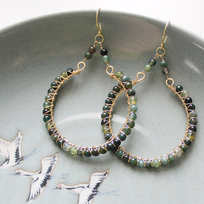 Gold fill moss agate statement earrings