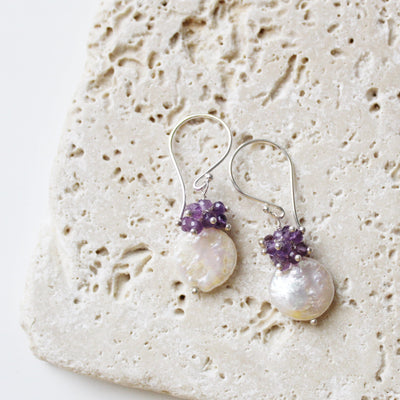 Handmade amethyst cluster earrings