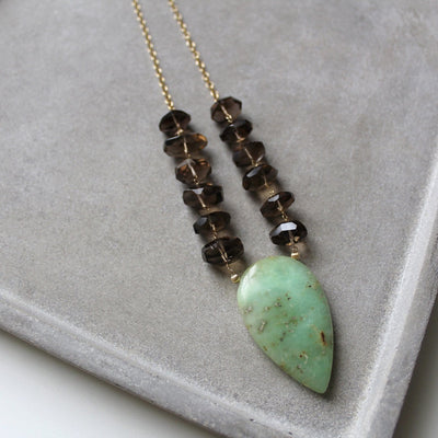 Green and brown chrysoprase necklace