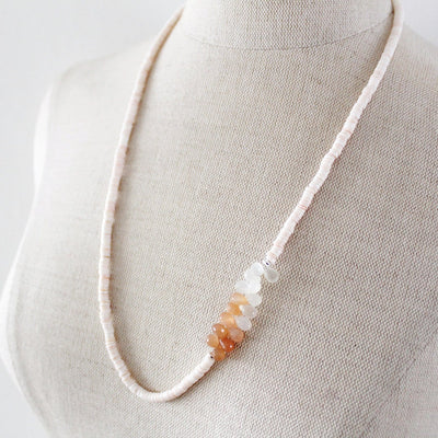 Shell necklace with moonstone