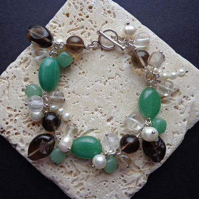 Green and brown semiprecious stone bracelet