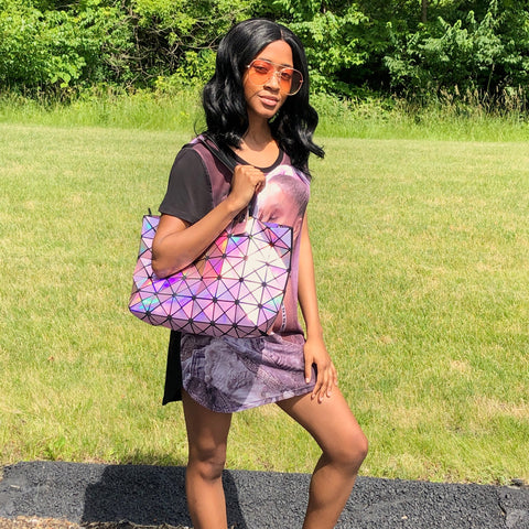 Glam Geometric Tote Bag - Drip Pink Fashions