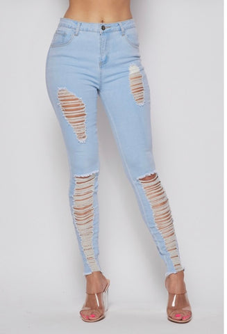 Rip The Runway Light Wash Jeans - Drip Pink Fashions