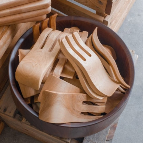 Salad Hands in wooden bowl