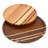 Black walnut witWooden lazy susan turntables in black walnut and yellow birch woods