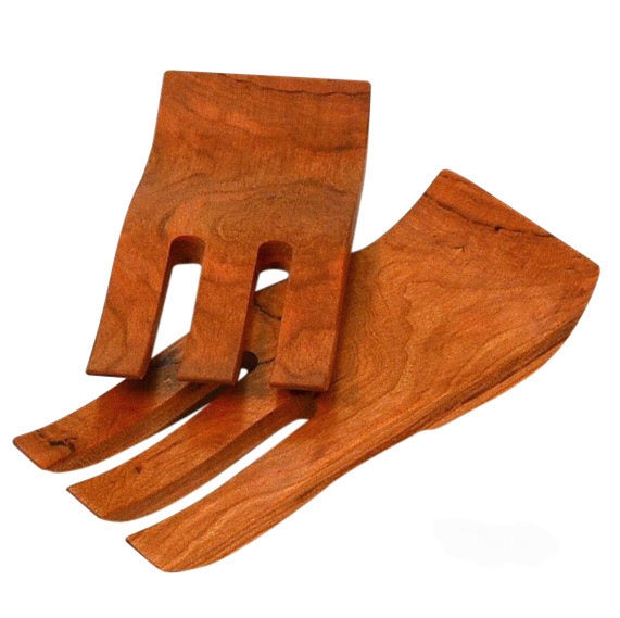 Cherry wooden salad hands