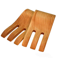 Yellow birch wooden salad hands