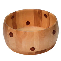 Yellow Birch Polka Dot Bowl with padouk wood dots