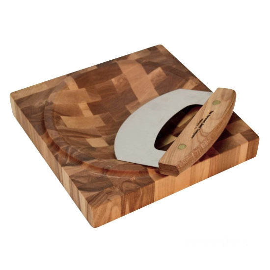Yellow Birch End Grain Chopping Bowl with Knife