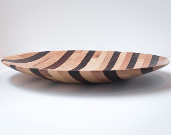 Side view of wooden serving platter