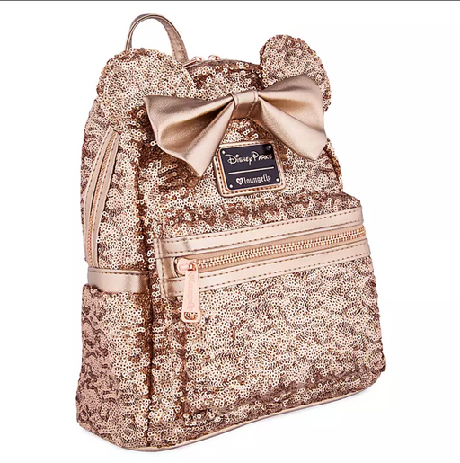 Disney Loungefly - Minnie Mouse Sequined Rose Gold Mini Backpack - Disney Parks Exclusive