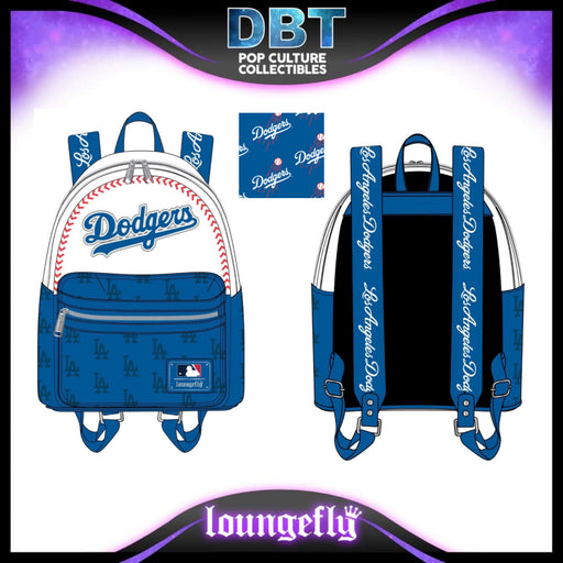 Major League Baseball Loungefly: Los Angeles Dodgers Baseball Seam Stitch Mini Backpack