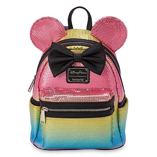 Disney Loungefly - Minnie Mouse Sequined Rainbow with Bow Mini Backpack - Disney Parks Exclusive